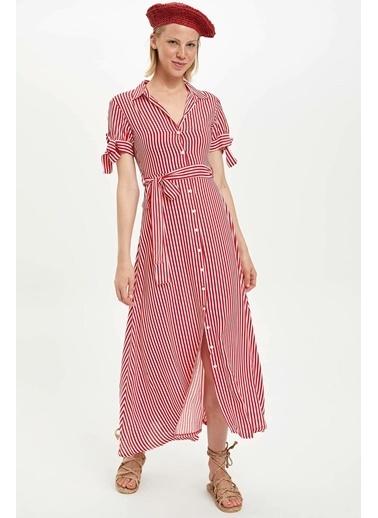 DeFacto Kuşaklı Çizgili Dokuma Elbise Kırmızı